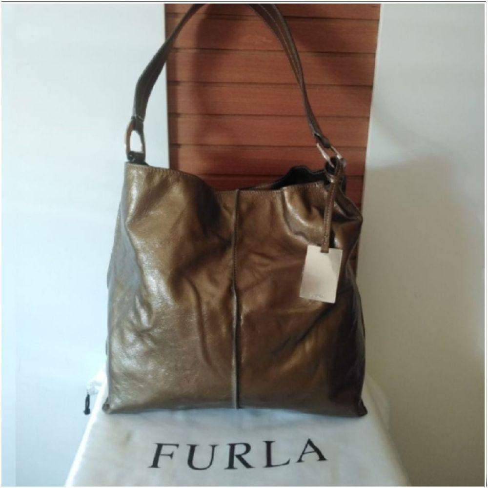 Sac à main Furla cuir vernis authentique bronze