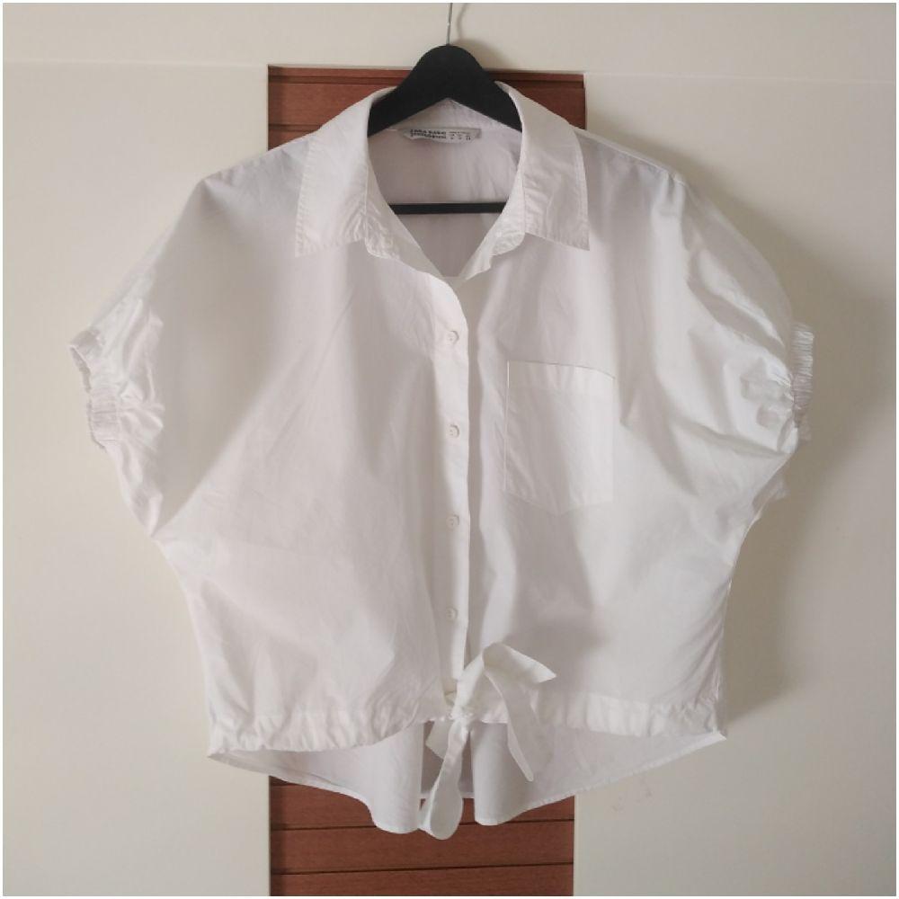 Chemise oversize Zara en cotton crop très tendance