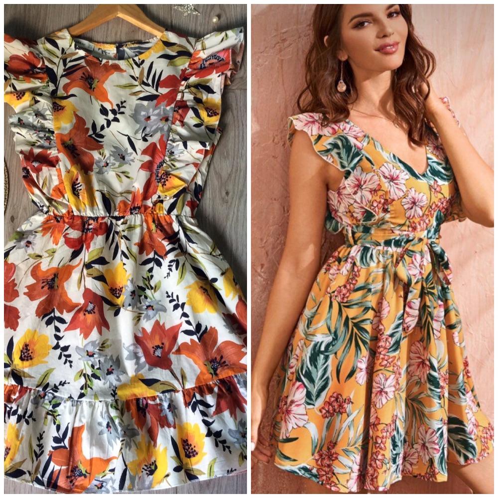 Fluide robe floral ruffle, tendance, tt neuf