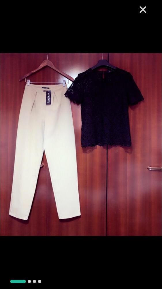 Pantalon fluide taille haute beige camel +top chic