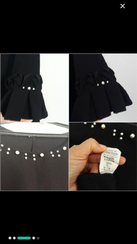 Robe Noir avec perle et manches bouffantes 40/42